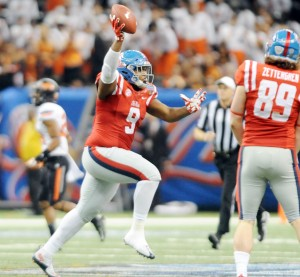 Ole Miss defensive tackle Breeland Speaks (9) recovers a fumble against Oklahoma State in the Sugar Bowl at the Mercedes-Benz Superdome in New Orleans, La. on Friday, January 1, 2016. Ole Miss won 48-20. (AP Photo/Oxford Eagle, Bruce Newman)
