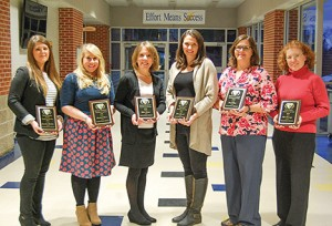 Oxford School District Oxford School District teachers of the year who were recognized at Monday's school board meeting are, from left, Jacqueline Hamilton, 2016 Scott Center; Elisabeth Darce, Bramlett Elementary; Kerri Greene, Oxford Elementary; Lana Parrish, Della Davidson Elementary; Carol Trott, Oxford Intermediate School; Kim Caraway, Oxford Learning Center. Others recognized are Curt Minton at Oxford Middle School and Chris Baughman, at Oxford High School.