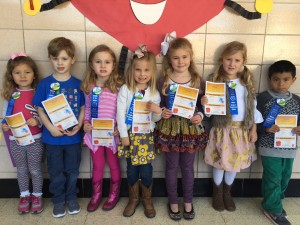 "Bramlett Elementary February Citizens of the Month in pre-K are from left, Taylor Kiffin, Keegan Green, Melanie ""Lanie"" Sanders, Shands Orrell, Elizabeth ""Bramlett"" Sherman, Maggie Jones, and Duhan Miranda."