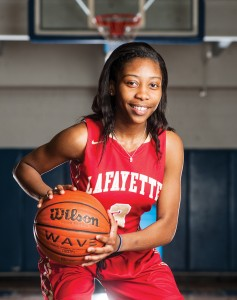 Lafayette's Shaniyah Buford added a consistent defensive presence to an area-best 21.4 points per game on her way to Player of the Year honors. (Bruce Newman)