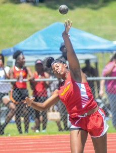 Lafayette's Mariah Holland competes in the shot put Friday. Holland set a personal record with a distance of 33 feet, 10 inches. (Jake Thompson)