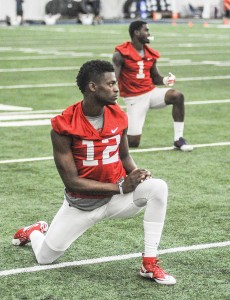 More polished than most young receivers, redshirt freshman Van Jefferson (12) has moved his way to the top of the preseason depth chart in the slot. (Bruce Newman)