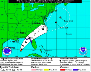 Tropical Storm Hermine or Hurricane Hermine is expected to develop and is on a path for Florida.