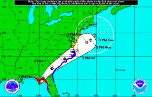 National Hurricane Center Hermine forecast track.
