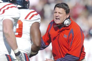 Ole Miss coach Ed Orgeron coaches against Mississippi State in Starkville, Miss. on Friday, November 23, 2007. (Bruce Newman)