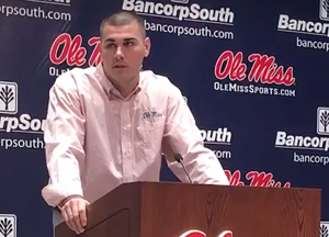 Ole Miss quarterback Chad Kelly speaks with reporters Monday at the Manning Center in Oxford. (Davis Potter)