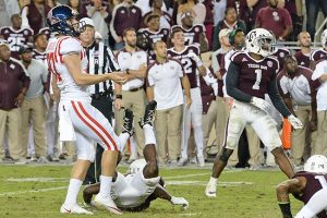 Ole Miss kicker Gary Wunderlich (97) kicks a game-winning field goal during the final minute against Texas A&M in College Station, Texas, Saturday, Nov. 12, 2016. Ole Miss won 29-28. (Photo/Thomas Graning)