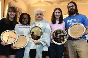Lyndsey Acree, from left, Jacelyn Frierson, Joan Vick, Laura Shields, and Daniel Doyle receive awards at the 2017 LOU Martin Luther King Jr. Day of Service in Oxford, Miss. on Monday, January 16, 2017.