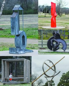 Some of the current works of art on the Yokna Sculpture Trail include a wide range of metal fabrications. New pieces are expected to be added.