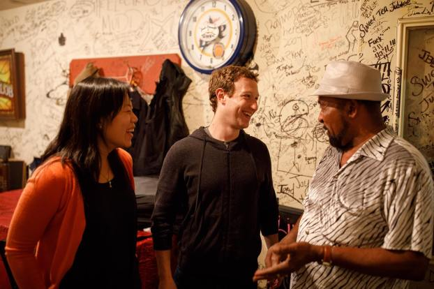 Facebook CEO Mark Zuckerberg (middle) and wife Priscilla Chan stopped in Clarksdale, Mississippi, Tuesday night as part of a road trip with the goal of visiting communities in every state by the end of 2017. (Mark Zuckerberg/Facebook)