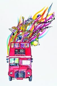Local artist Pam Locke created this year's official Double Decker poster and t-shirt design.