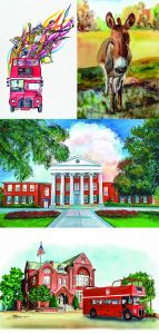 Pam Locke's winning Double Decker poster, top left, and some of her other works of Oxford City Hall, the Lyceum at Ole Miss and a donkey.