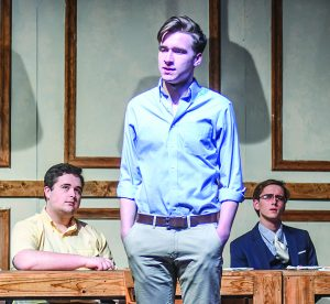 "Oxford High students, from left, Erik Sahlein, Andrew Gardner, and Eli Abel rehearse ""12 Angry Men"", in Oxford, Miss. on Monday, February 13, 2017."